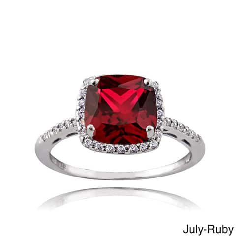 Glitzy Rocks Sterling Silver Gemstone with Cubic Zirconia Birthstone Square Ring