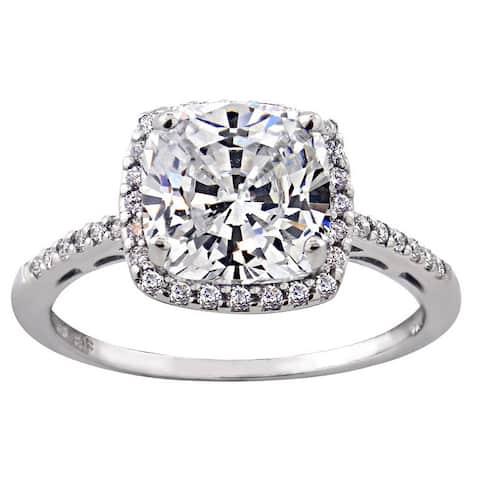 Glitzy Rocks Sterling Silver Gemstone with Cubic Zirconia Birthstone Square Ring