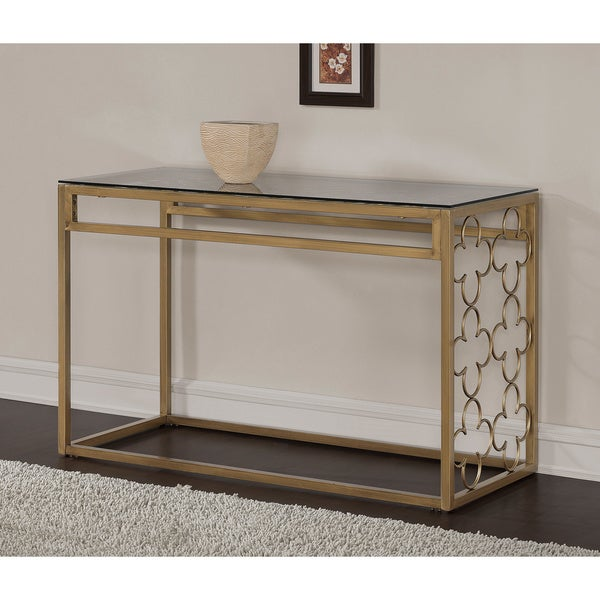 Good Quatrefoil Goldtone Metal And Glass Sofa Table