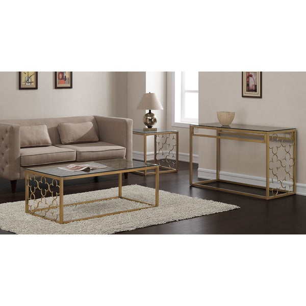 Quatrefoil Goldtone Metal And Glass Sofa Table   Free Shipping Today    Overstock.com   16478583