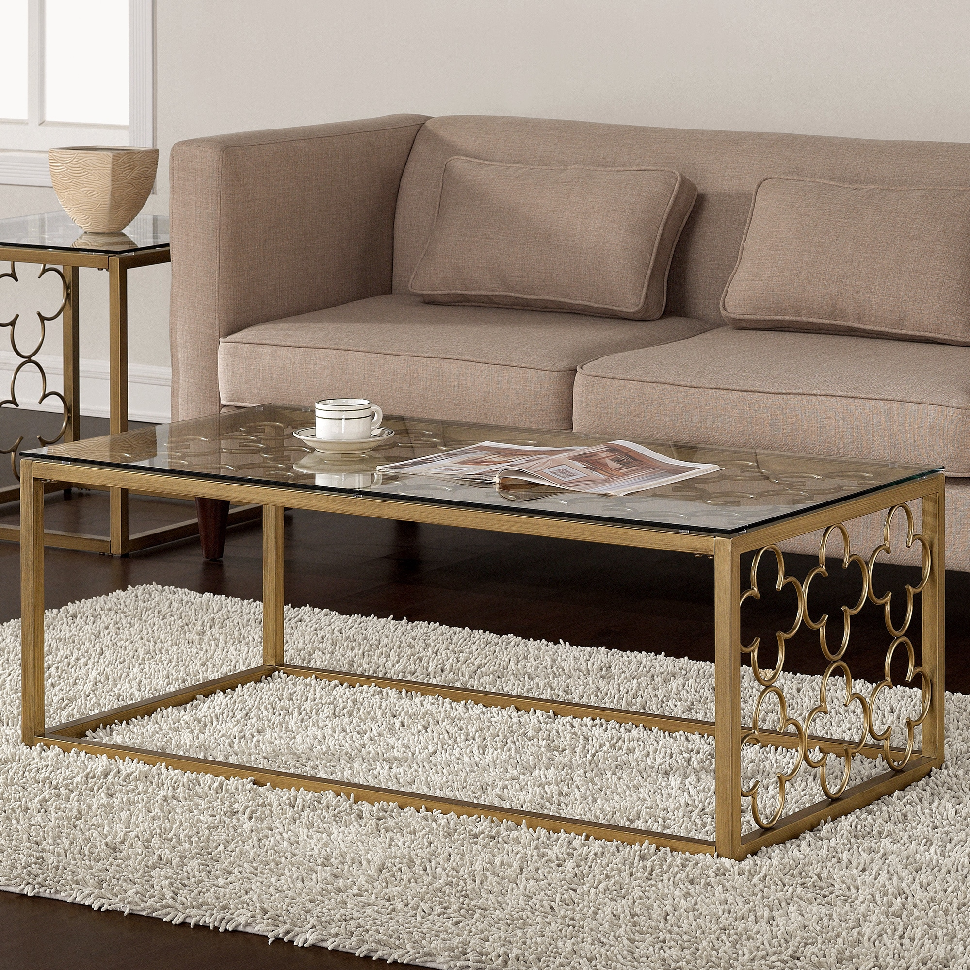 Quatrefoil Goldtone Metal and Glass Coffee Table, Yellow
