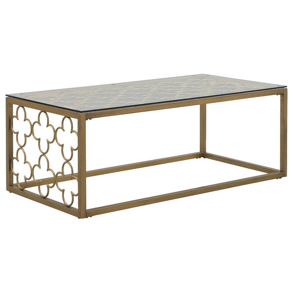 Charming Quatrefoil Goldtone Metal And Glass Coffee Table   Free Shipping Today    Overstock.com   16478580