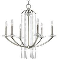 Progress Lighting Silvertone  6-light Chandelier with Drops of Opulent Beads