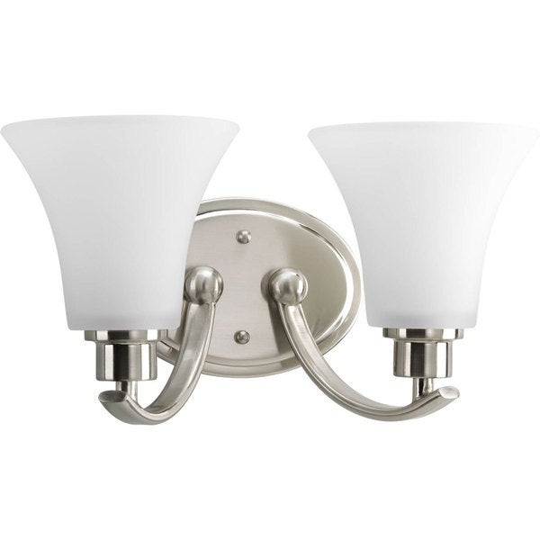 Shop Progress Lighting Alexa 4 Light 9 5 In Brushed Nickel Bell Vanity Light At Lowes Com: Shop Progress Lighting Silvertone Joy 2-light Brushed Nickel Bath Vanity With White Etched Glass