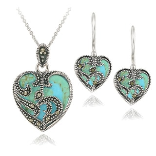 Reconstituted Turquoise Blue Topaz and Marcasite Sterling Silver Necklace