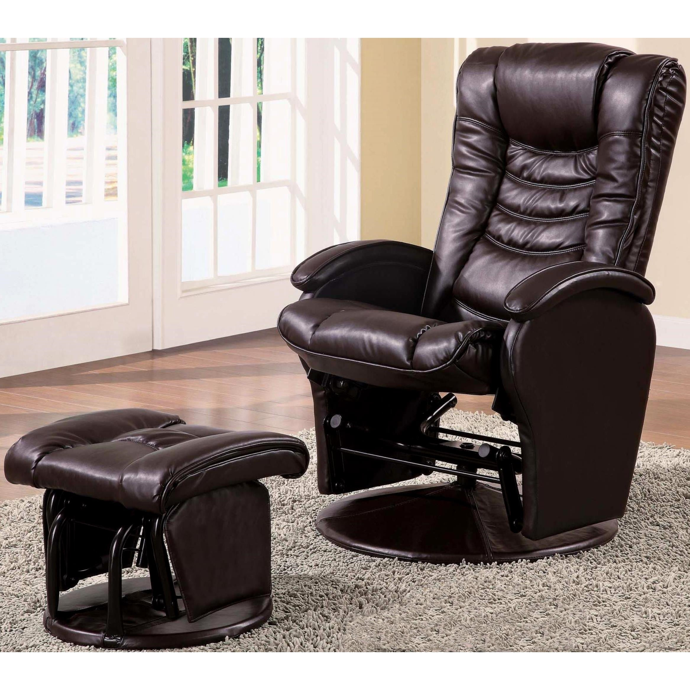 Askella Swivel Glider Recliner Ottoman Set (Brown), Size ...