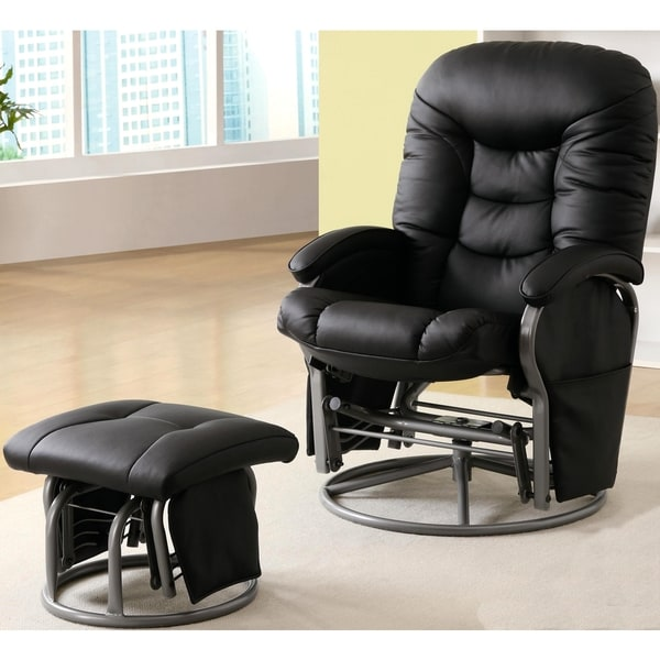 Small Chair With Ottoman: Shop Albireo Swivel Glider Recliner Ottoman Set