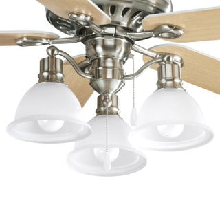 Progress Lighting Madison Collection 3-light Brushed Nickel Ceiling Fan Light