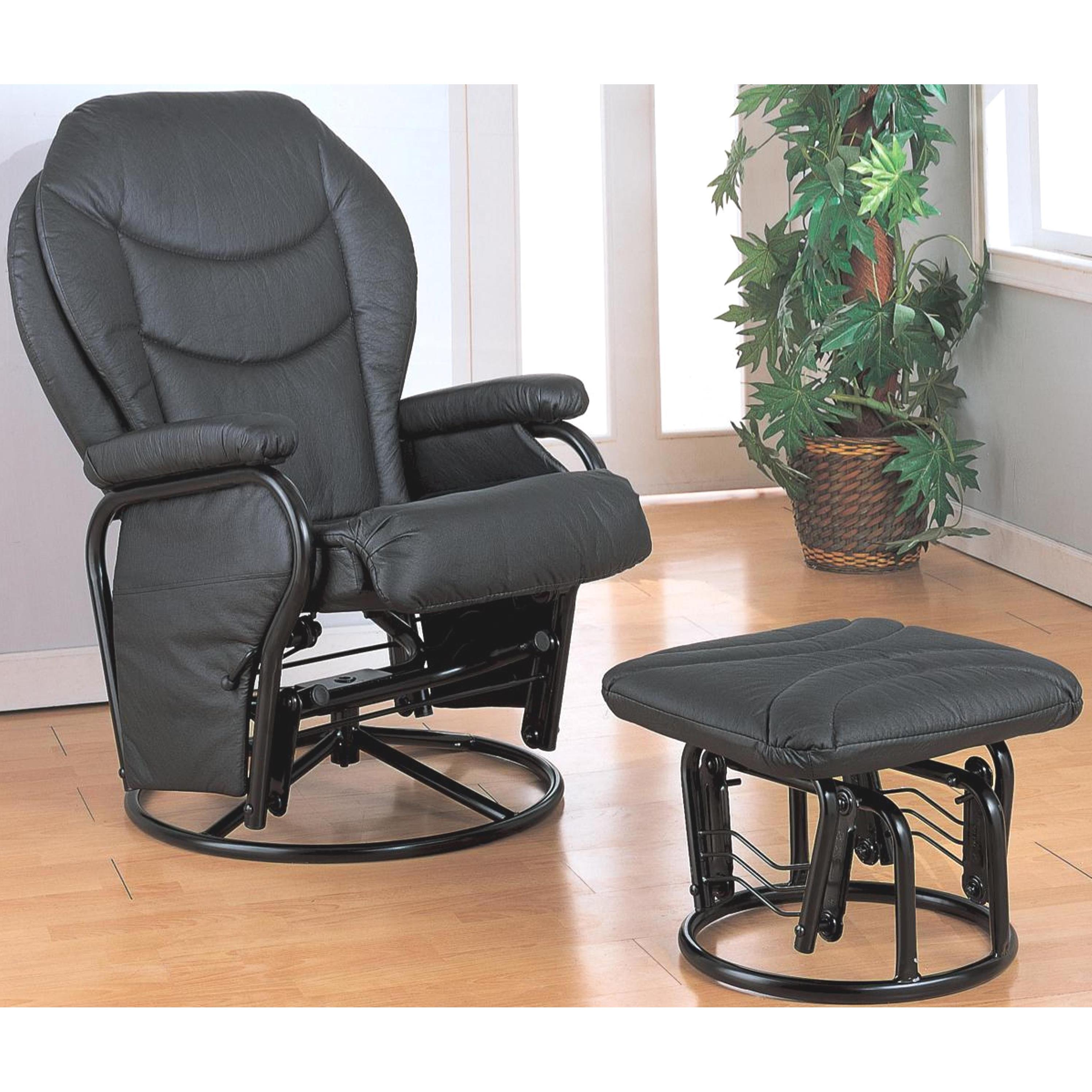Ollius Swivel Glider Recliner Ottoman Set (Black), Size S...