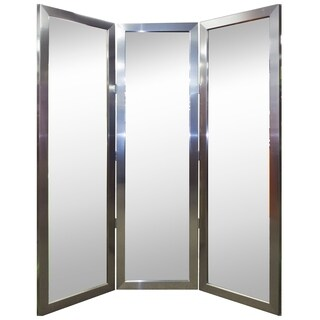 """Hitchcock Butterfield Empyrean Silver Three-Panel Room Dividing Mirror - 22""""w x 72""""h"""