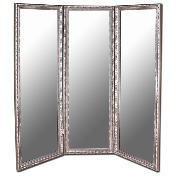 Hitchcock Butterfield Arrivabene Silver Three Panel Room Dividing Mirror 22 75 W X 72 75 H