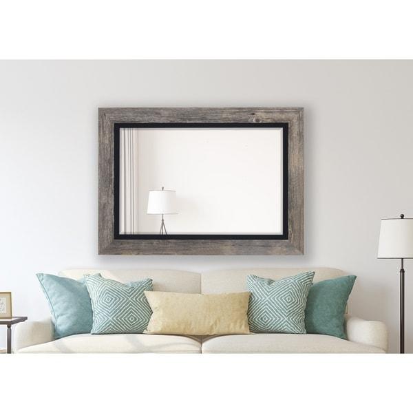 Antique Weathered Grey / Black Liner Framed Wall Mirror