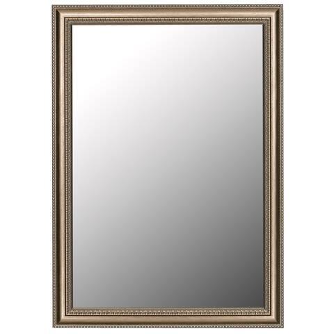Grecian Beaded Silver Framed Wall Mirror
