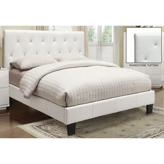 krystal faux leather rhinestone tufted platform bed - White Platform Bed Frame