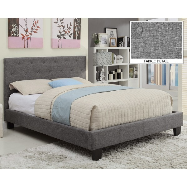 Sutton Tufted Linen Platform Bed - Free Shipping Today - Overstock ...