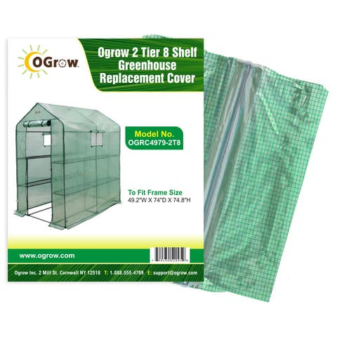 """Ogrow 2 Tier 12 Shelf Greenhouse Pe Replacement Cover - To Fit Frame Size 49.2""""W X 98.4""""D X 74.8""""H"""