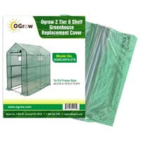"Ogrow 2 Tier 12 Shelf Greenhouse Pe Replacement Cover - To Fit Frame Size 49.2""W X 98.4""D X 74.8""H"
