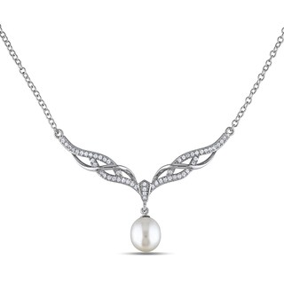 Miadora Sterling Silver Freshwater Pearl and Cubic Zirconia Necklace (8.5-9 mm)