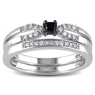 Miadora Sterling Silver 1/5ct TDW Black Diamond Bridal Set