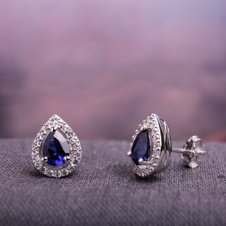 Miadora Sterling Silver Created Blue and White Sapphire Teardrop Halo Birthstone Stud Earrings