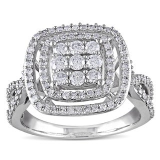 Miadora 10k White Gold 1ct TDW Diamond Ring
