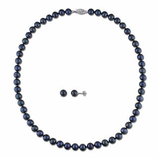 Miadora 14k White Gold 2-piece Set of Cultured Black Pearl Necklace and Earrings (6.5-7 mm)