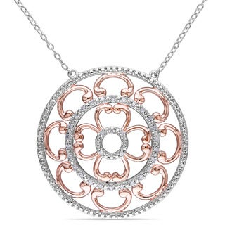 Miadora Sterling Silver 1/6ct TDW Diamond Medallion Necklace