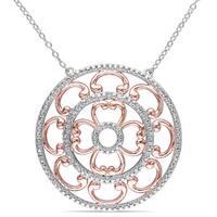 Miadora Sterling Silver 1/6ct TDW Diamond Medallion Necklace