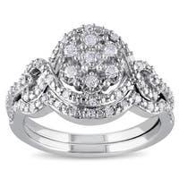 Miadora Sterling Silver 1/3ct TDW Diamond Bridal Set