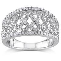 Miadora Sterling Silver 1/4ct TDW Diamond Infinity Ring