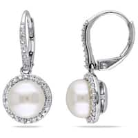 Miadora Silver Cultured Pearl and 1/5ct TDW Diamond Earrings (H-I, I2-I3) (8-8.5 mm)