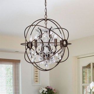 Planetshaker II Antique Bronze and Crystal 6-light Chandelier