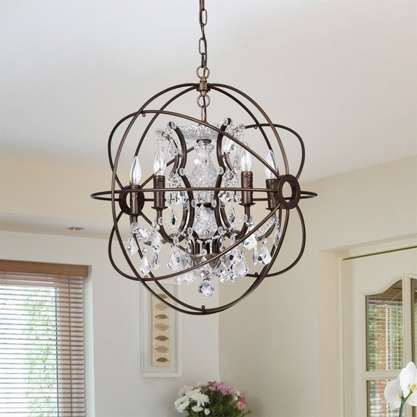 Planetshaker ii antique bronze and crystal 6 light chandelier