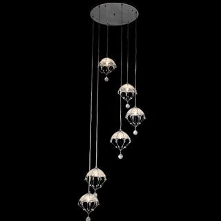 'Cnidaria II' Chrome and Crystal Cascading Chandelier
