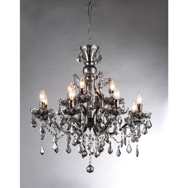 Collins Imperial Silver Crystal 12-light Chandelier