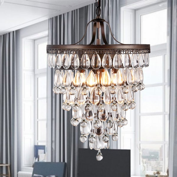 Martinee Antique Bronze and Crystal Inverted Pyramid Chandelier – Antique Bronze Crystal Chandelier