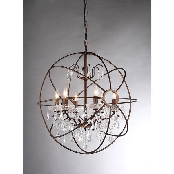 Edwards Antique Bronze and Crystal 24inch Sphere Chandelier – Bronze Chandelier with Crystals