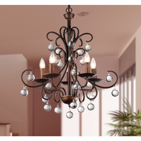 Grace Antique Bronze and Crystal Drop Curved 5-light Chandelier