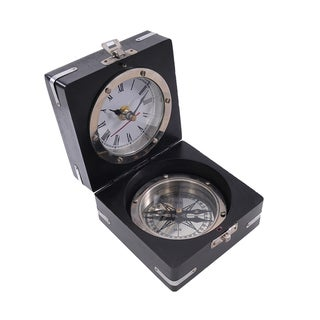Brass Compass Clock and Wooden Display Case