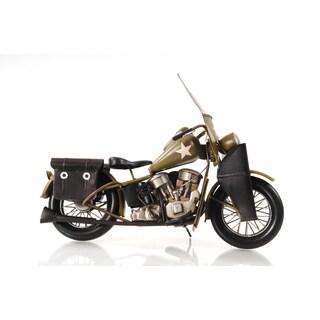 1942 Yellow Motorcycle 1:12 Scale Model