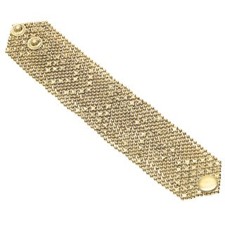 Handmade Goldtone Double Snap Mesh Wraparound Bracelet (India)