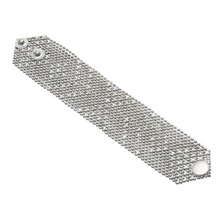 Silvertone Mesh Button Snap Wraparound Bracelet (India)