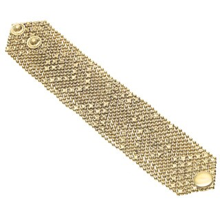 Handmade Goldtone Brass Button Snap Mesh Bracelet (India)
