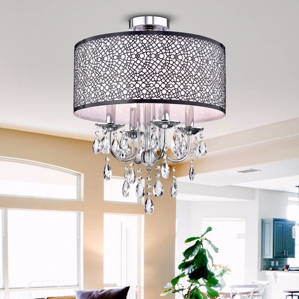 Shane Chrome And Crystal Round Shade Flush Mount 4 Light Fixture