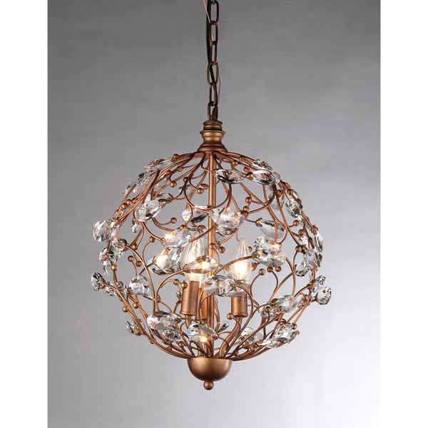 Bronzetone Sphere and Crystal 3-light Chandelier - Free Shipping ...
