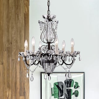 Frankenstein Antique Bronze and Crystal 6-light Chandelier