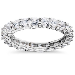 14k White Gold 3ct TDW Trellis Diamond Eternity Ring