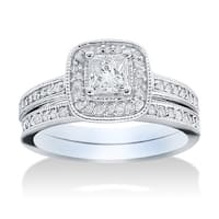 14k White Gold 1 1/6ct TDW Halo Diamond Bridal Set - White Gold