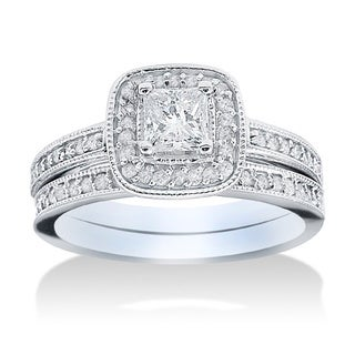 14k White Gold 1 1/6ct TDW Halo Diamond Bridal Set