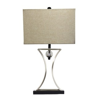Elegant Designs Brushed Chrome Hourglass Shape with Pendulum Table Lamp